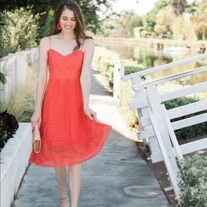 J Crew Daisy Lace dress in coral, sz 2